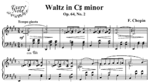 This is the opening of the above waltz. See in the lower line the three main beats?